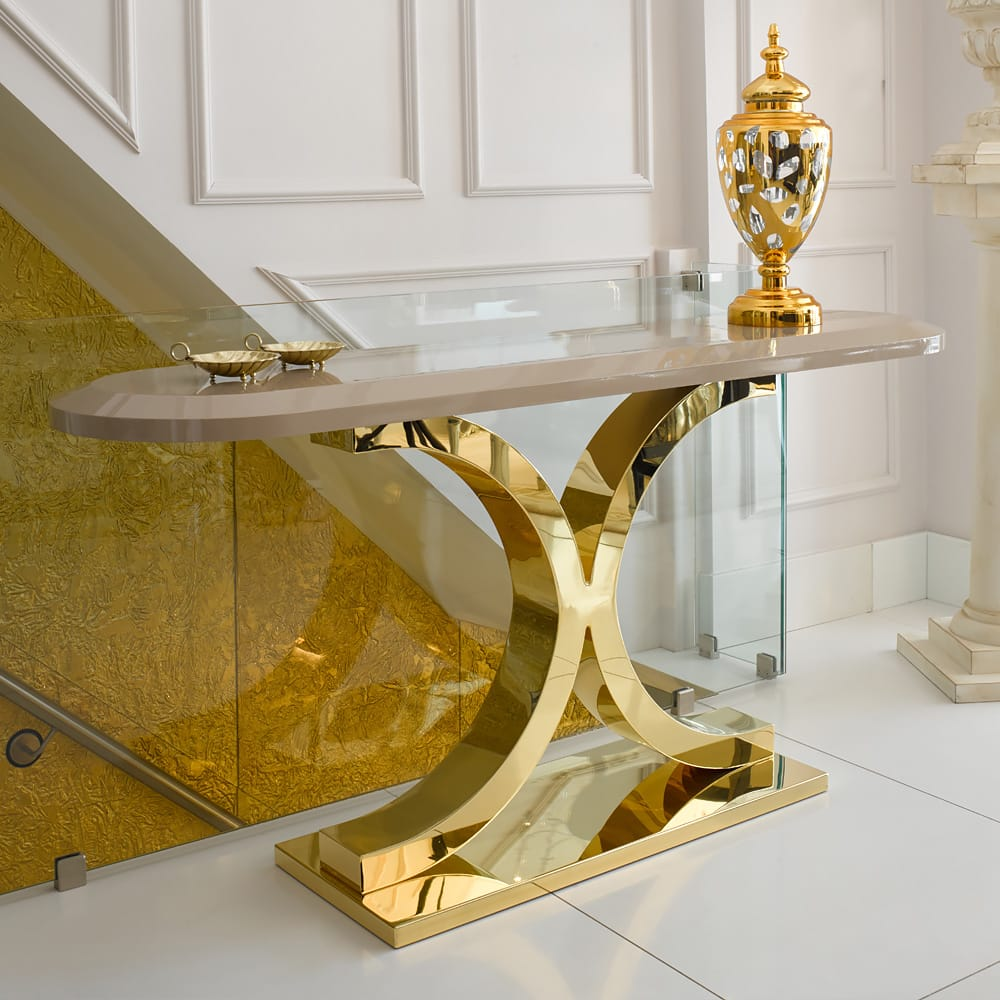 ex display console table with 24 carat gold plated base and mocha lacquer oval top