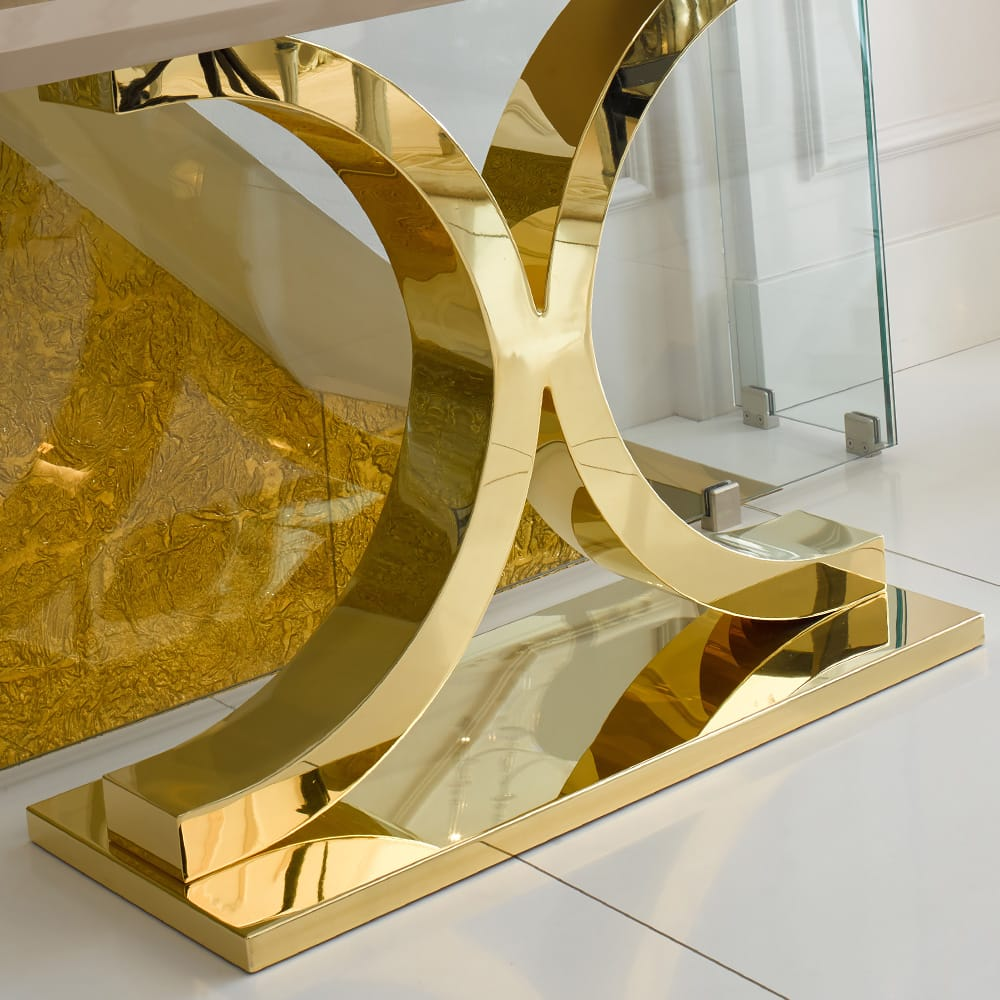 24 Carat gold and lacquer finish designer console table
