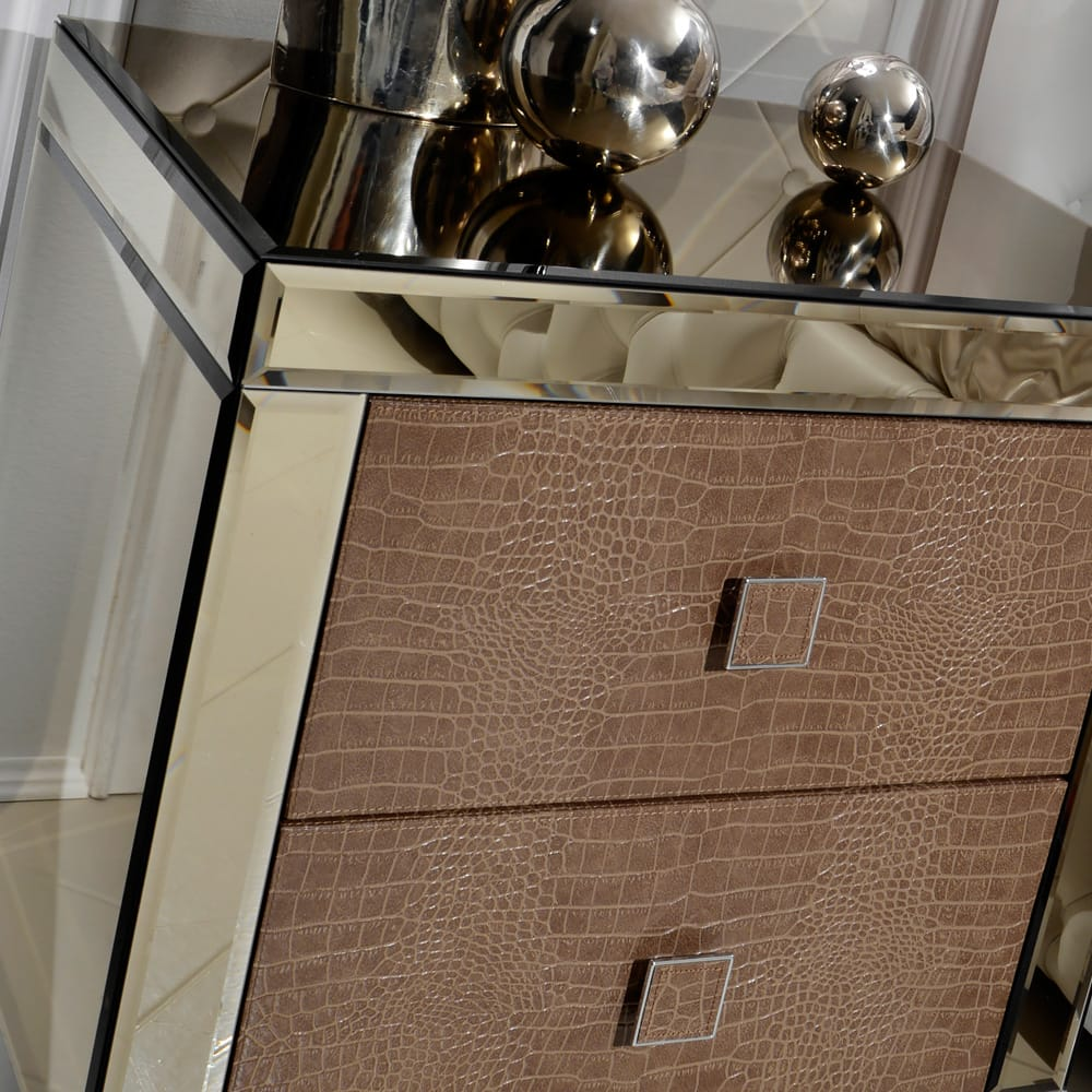 alligator embossed bedside table mirrored finish