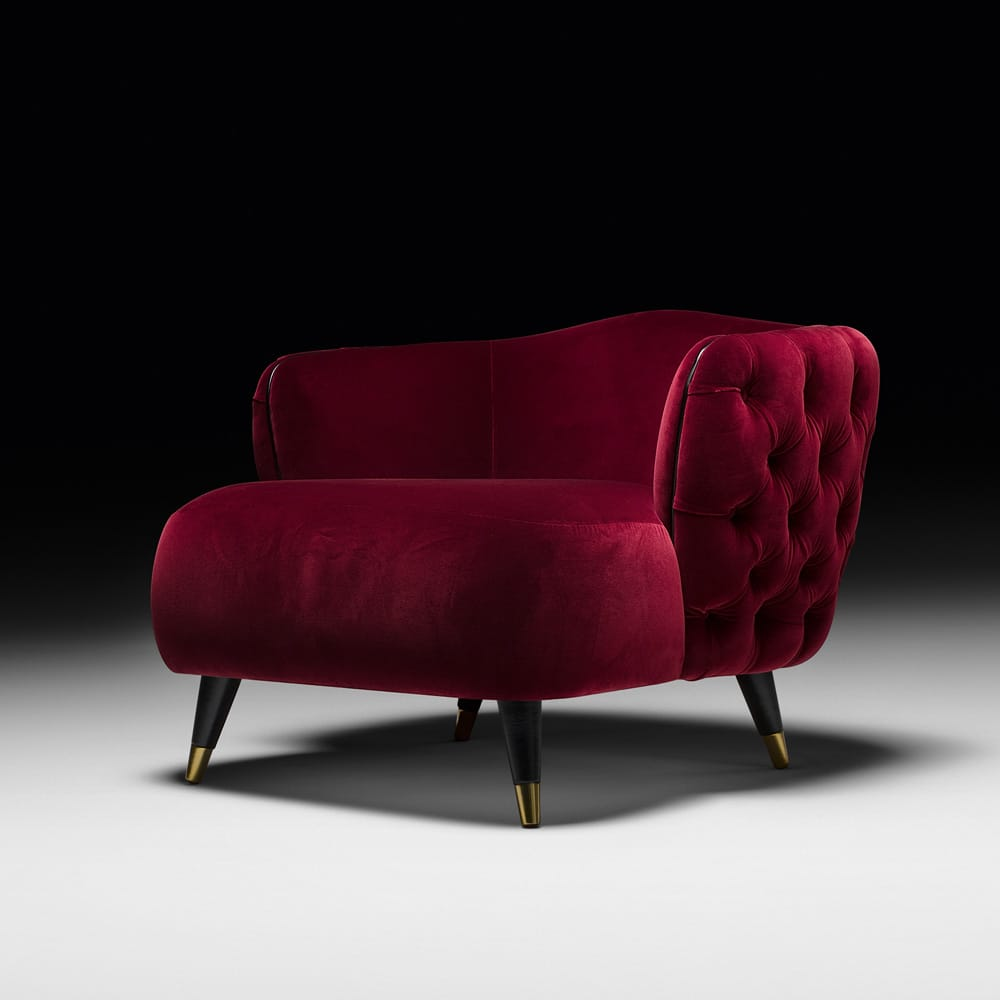 Statement furniture, deep red velvet, button upholstered tub chair