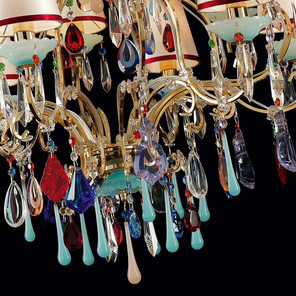 multi coloured glass finish chandelier