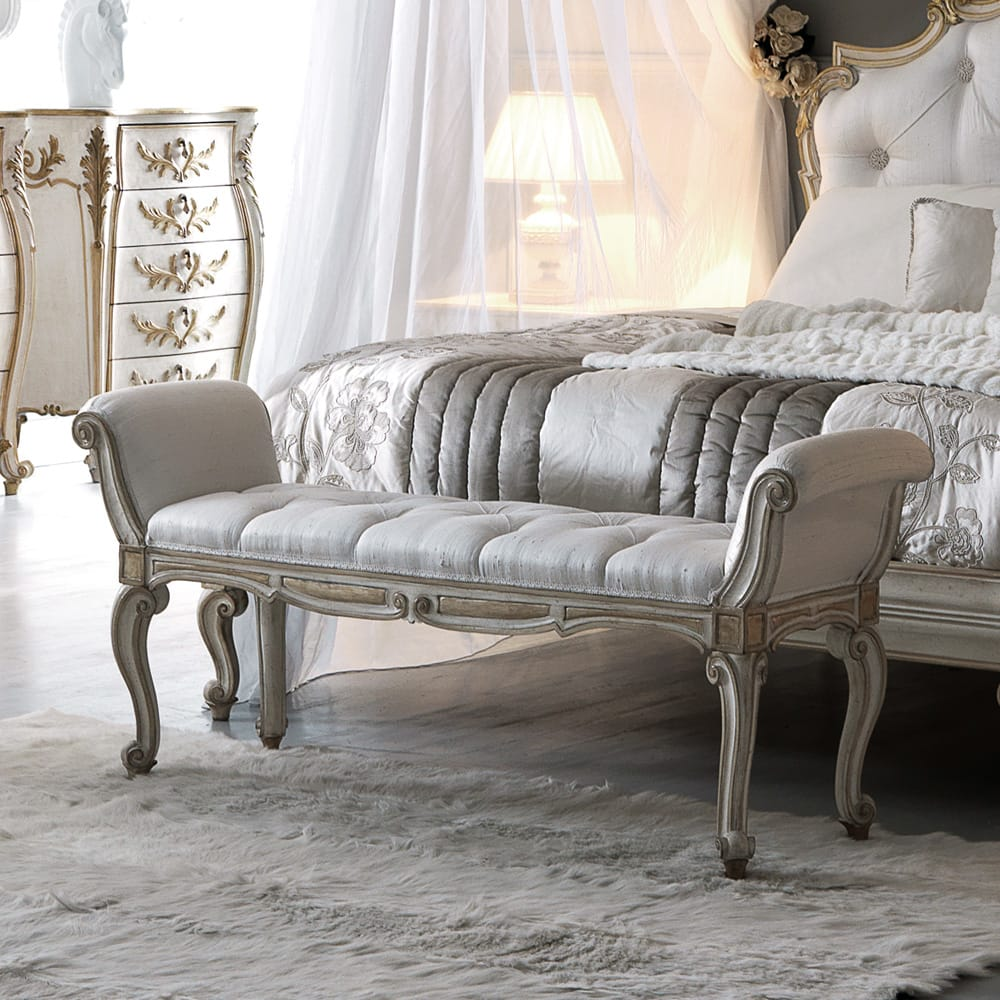 Florence Collection, ornate bench with armrests, scroll legs, white satin damask upholstery