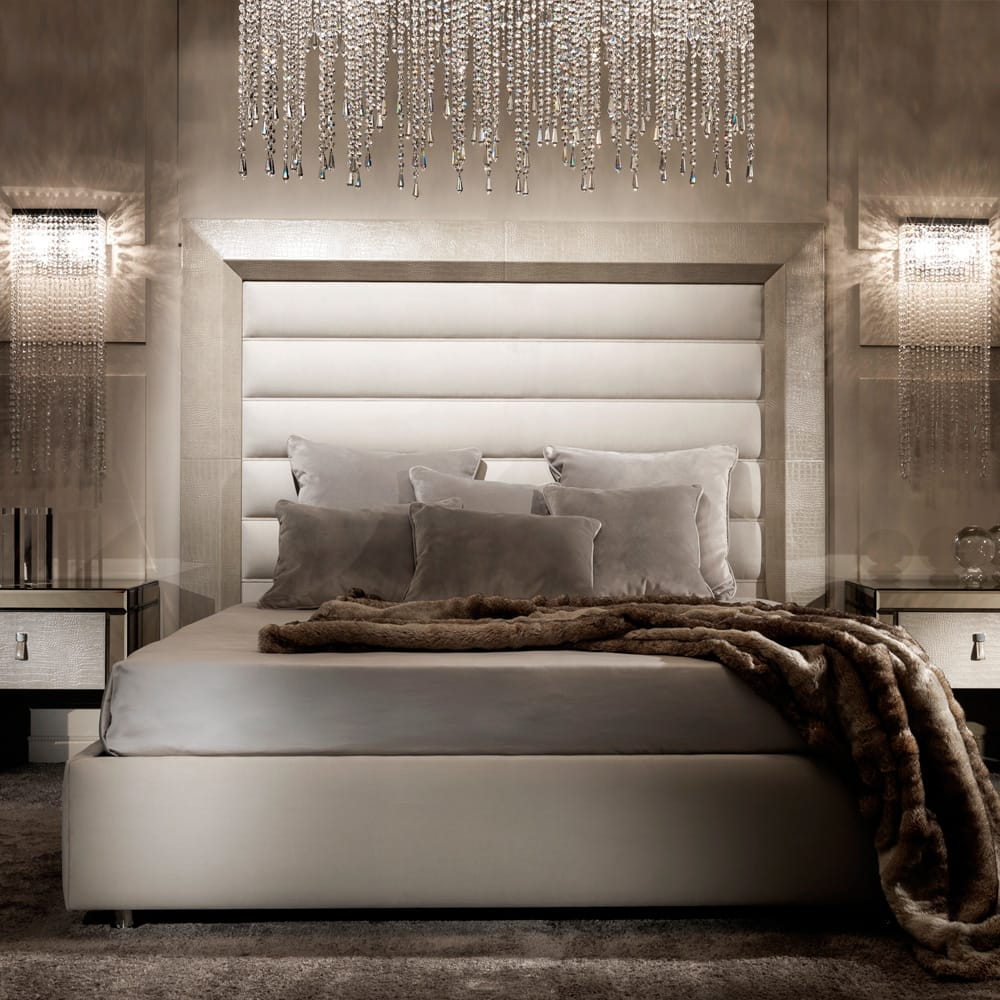 contemporary bed with alligator-embossed leather headboard, order now for Christmas