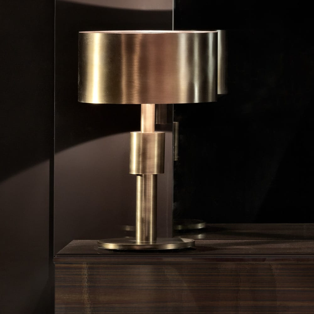 ex display contemporary table lamp with burnished brass base, stand and shade