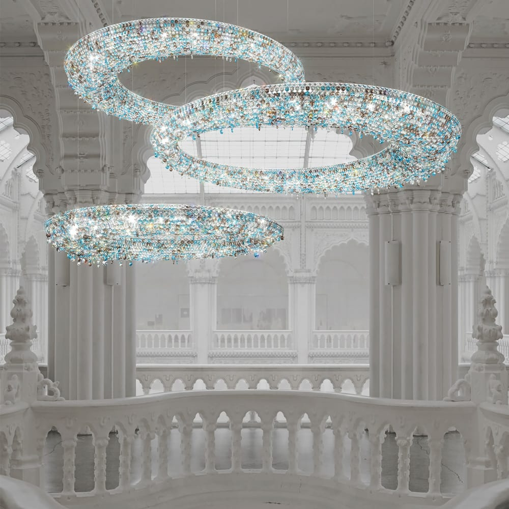 statement furniture, set of 3 large, contemporary, oval, crystal chandeliers, clear and aqua crystals