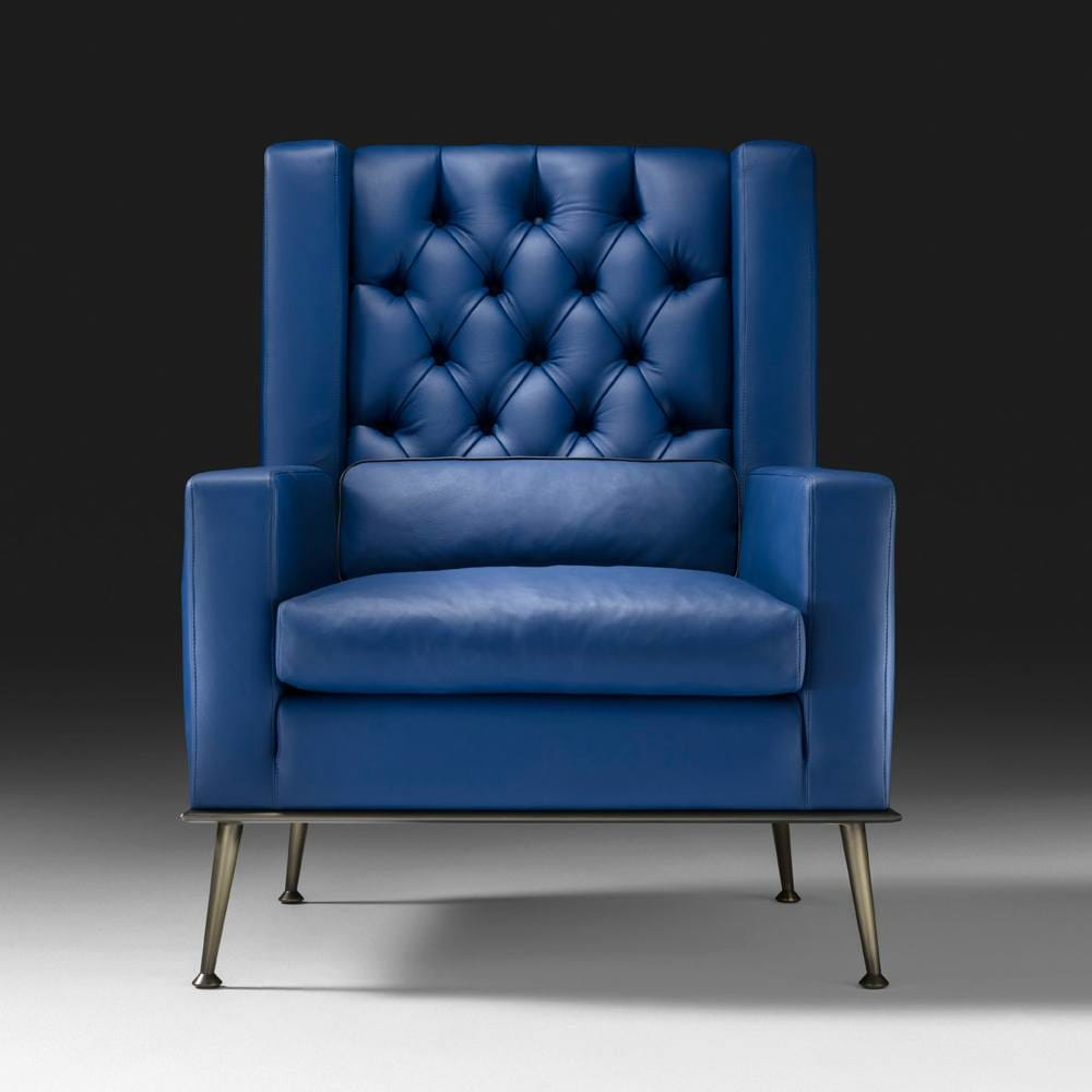 Contemporary Italian Designer Leather Button Upholstered Armchair