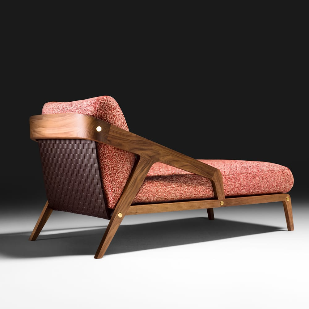 Contemporary canaletto walnut chaise longue