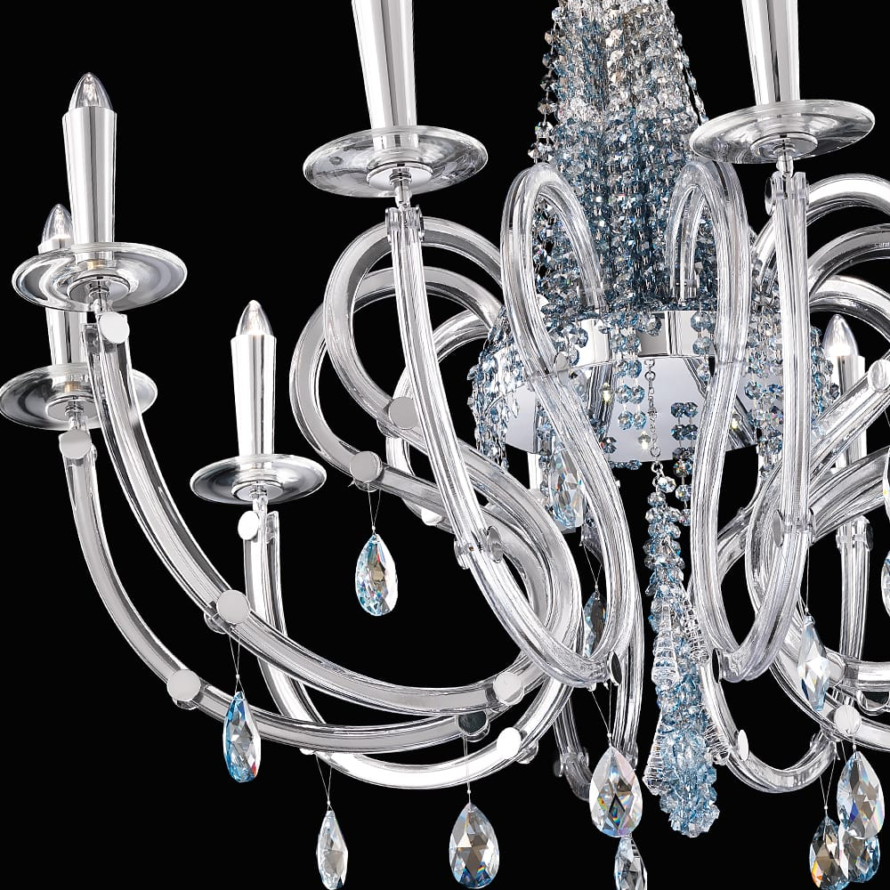 murano glass blue swarovski crystal silver chandelier