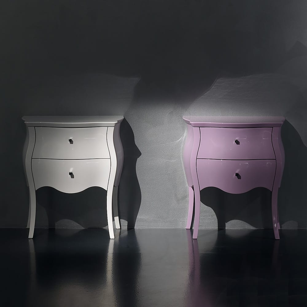 bedside cabinet coloured lacquer finishes