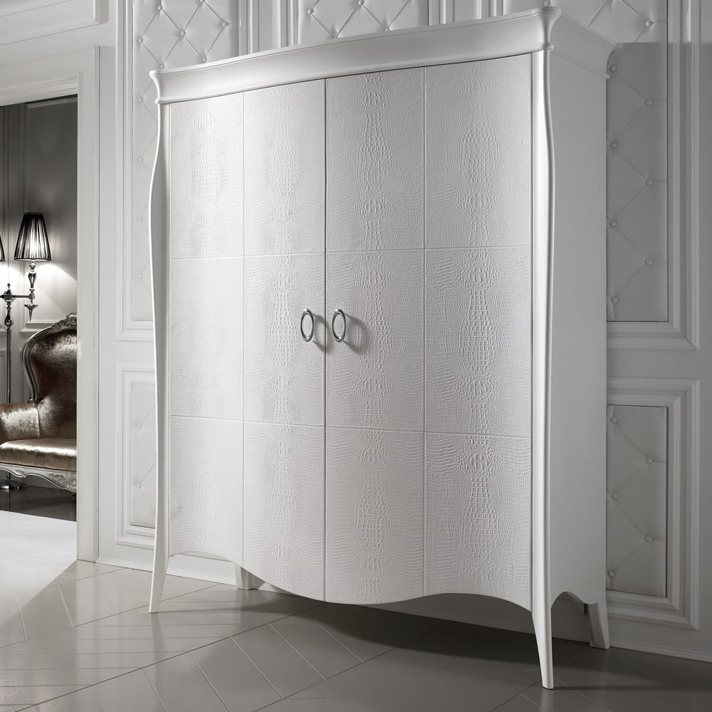 Impress the guests, white, 2 door wardrobe with curved doors, alligator embossed leather