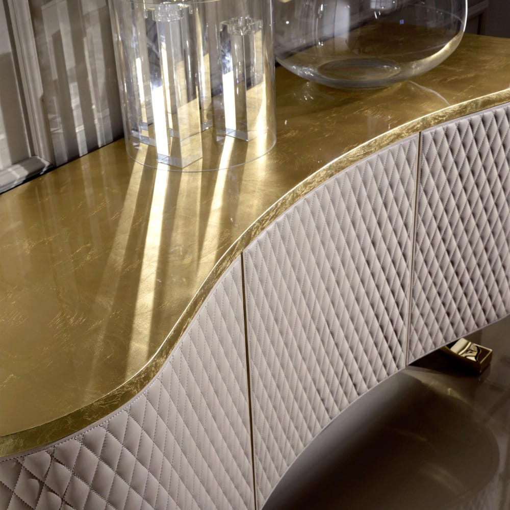 Italian quilted nubuck sideboard gold leaf top bespoke options