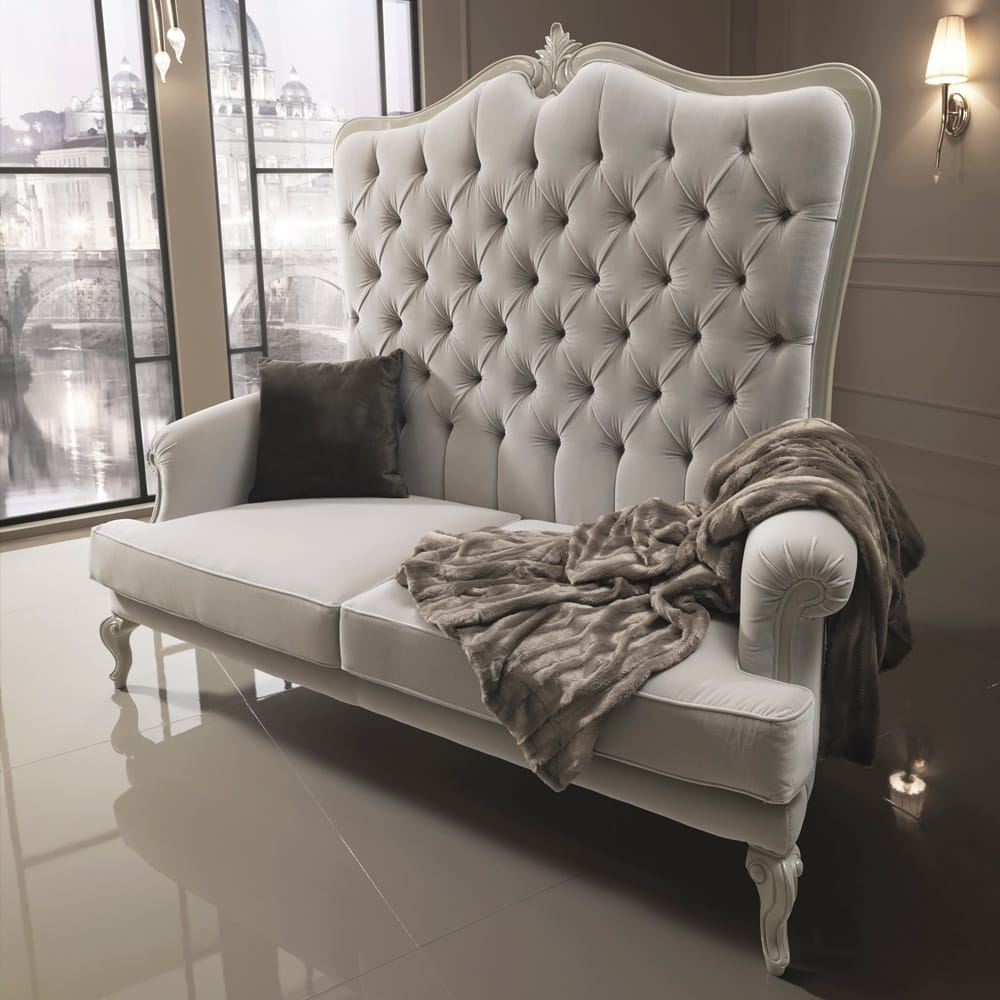 statement furniture, luxury, ivory velvet high backed porters sofa, 2 seat