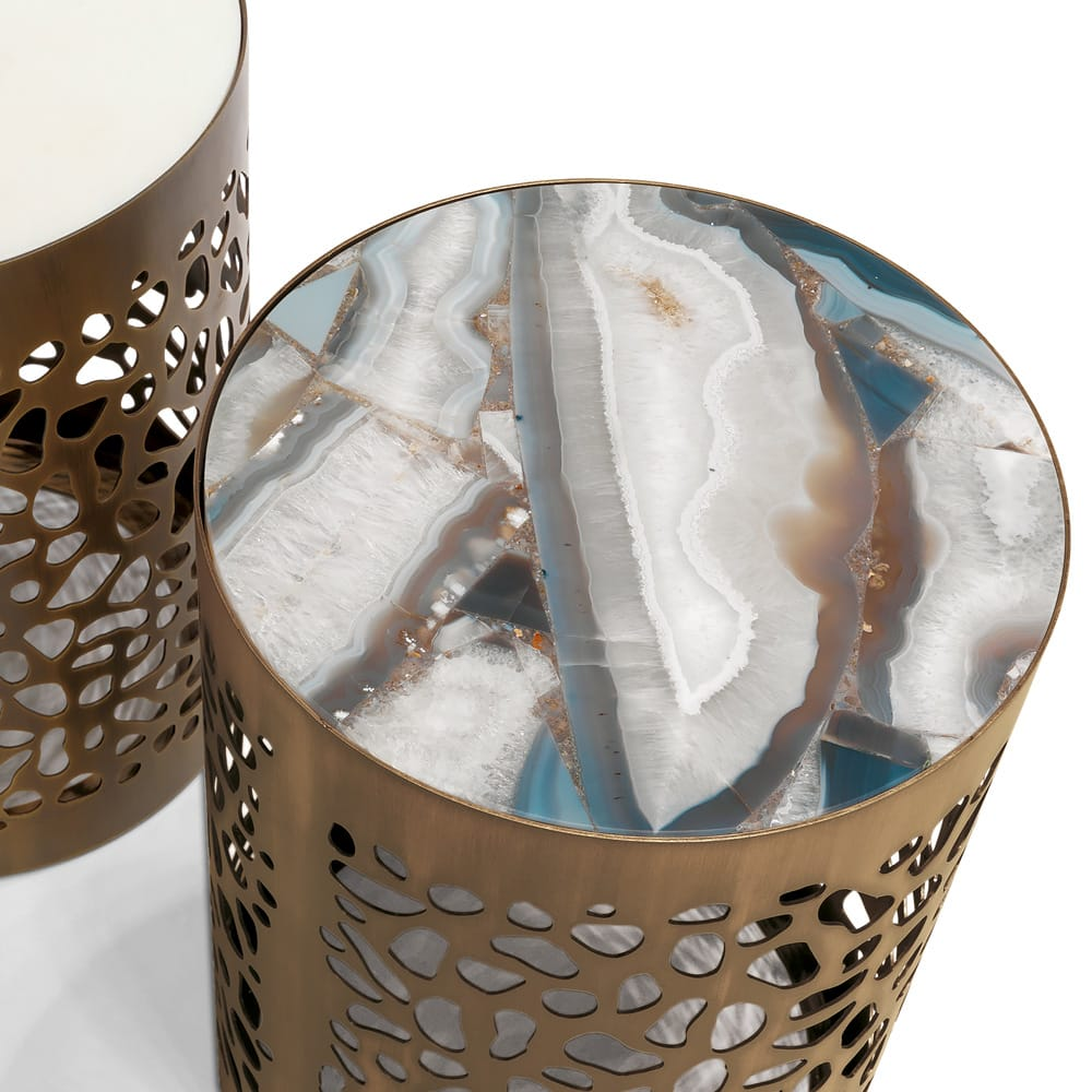 modern laser cut brass side table with patterned marble top