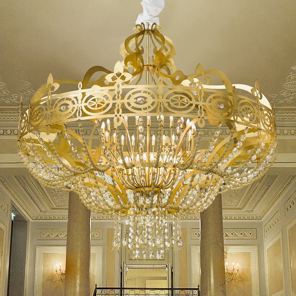 wrought iron gold leaf neoclassical chandelier
