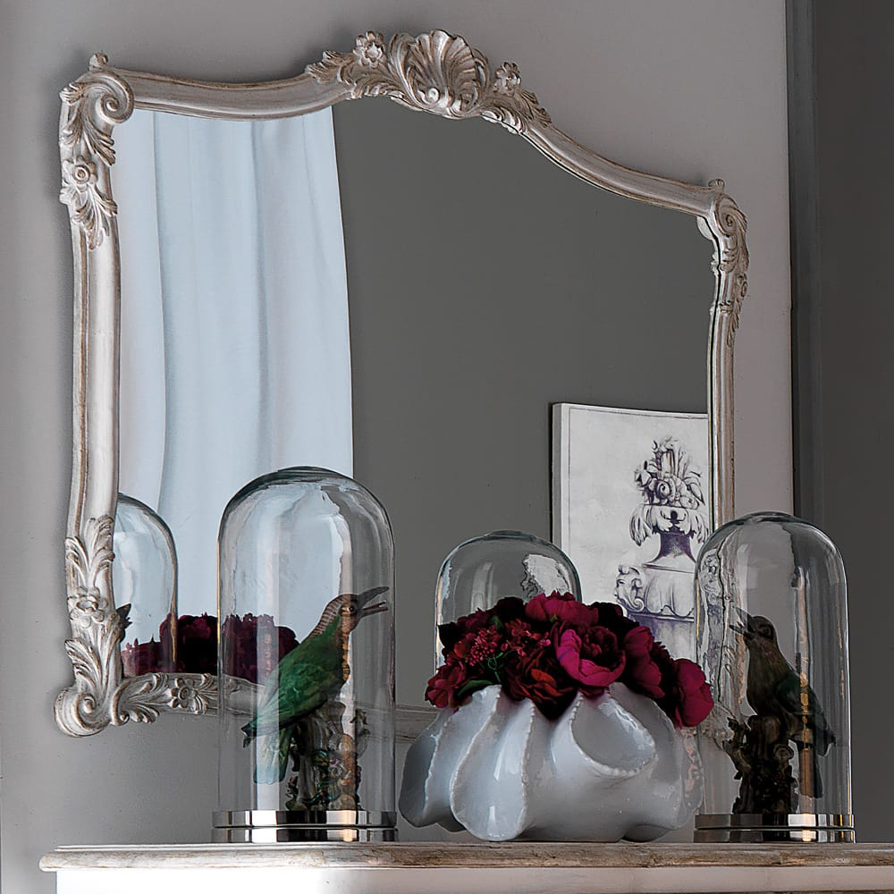 Florence Collection, large mirror with ornate silver frame