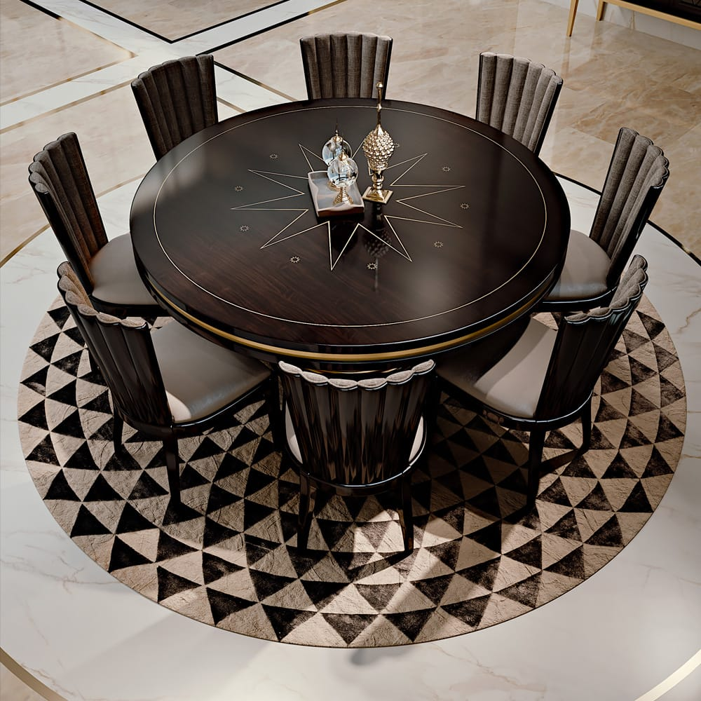 circular ebony dining table with inlaid central star feature, plus 8 chairs, order now for Christmas
