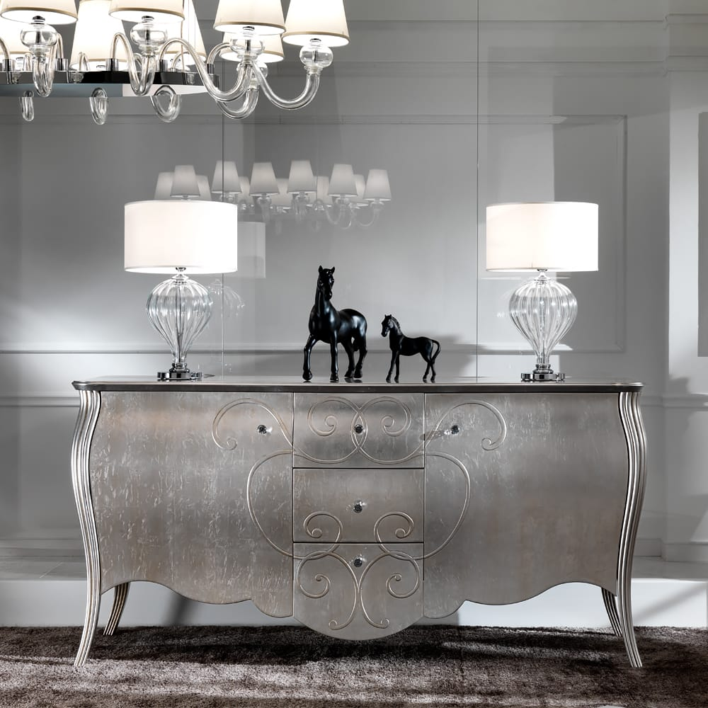 Impress the guests, classic shape buffet sideboard with silver leaf finish