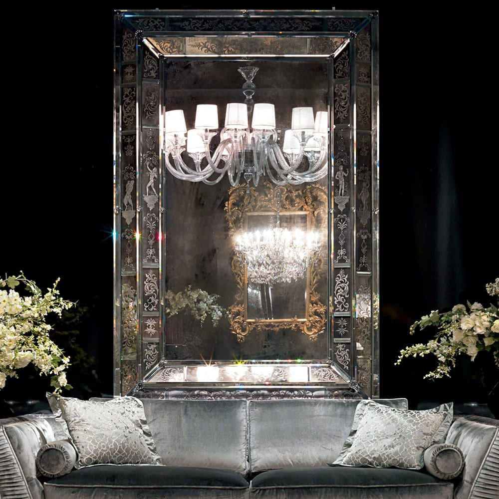 statement furniture, very large, antique style Venetian mirror with etched glass surround