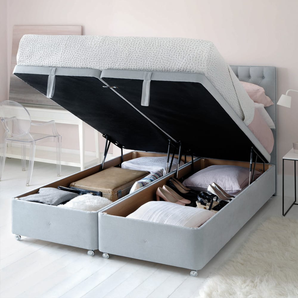 Impress the guests, hypnos storage divan, two single bed bases, linked to make double bed
