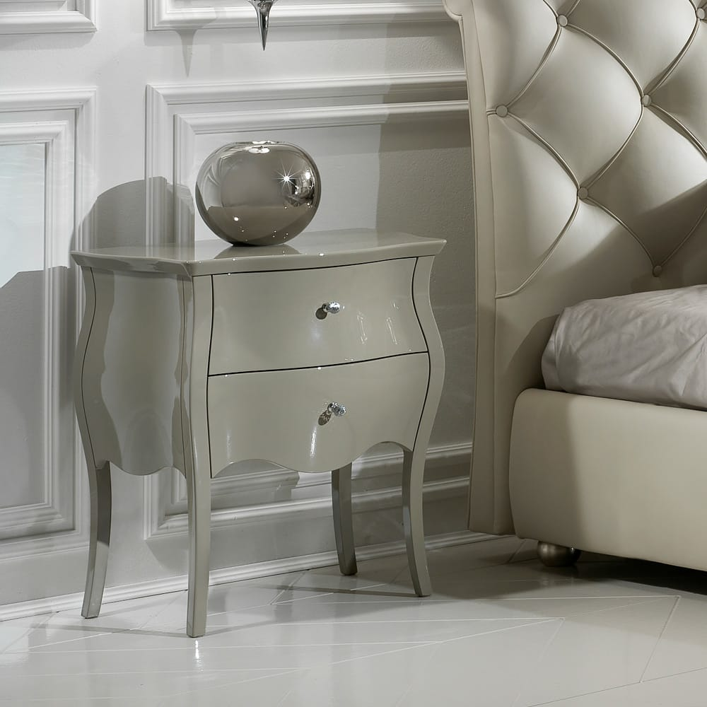 bedside table grey gloss lacquer finish