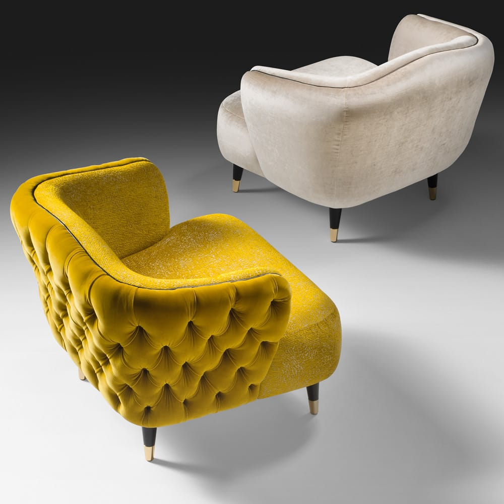 statement furniture, two velvet tub chairs, yellow and ivory