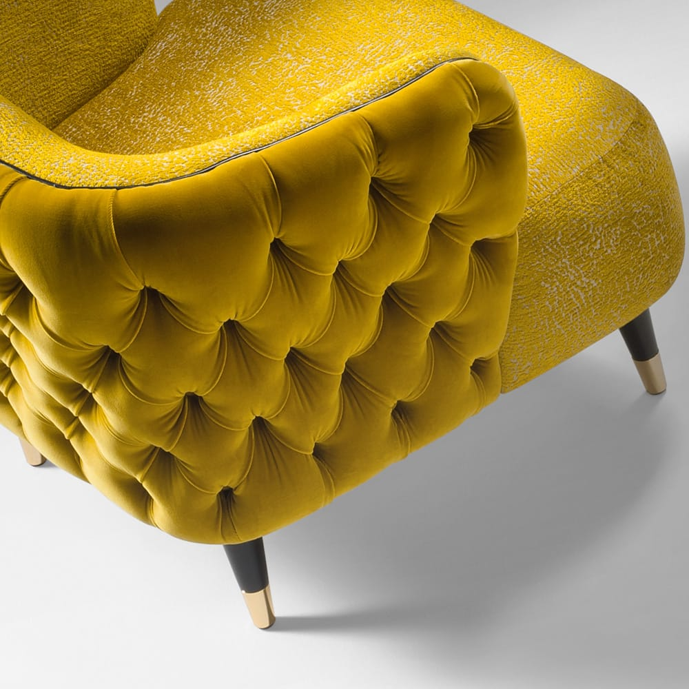 Impress the guests, tub chair with deep button back, in mustard coloured velvet and textured fabric