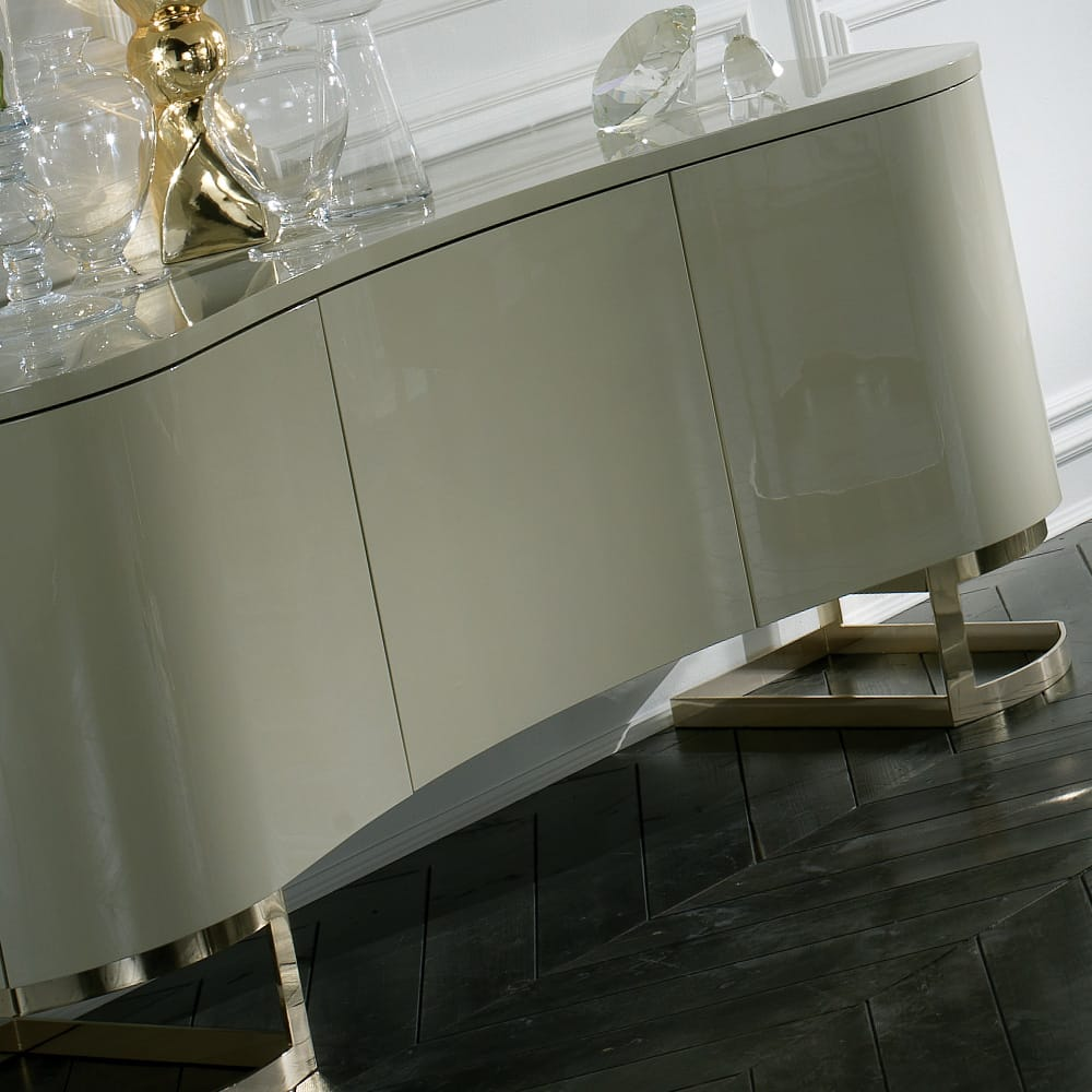Italian lacquered buffet sideboard curved doors metallic legs bespoke options