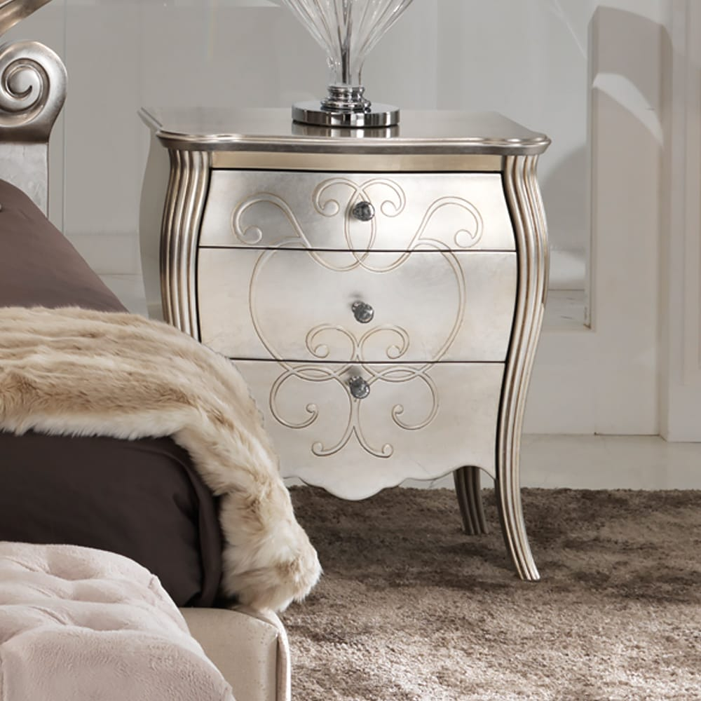 Italian luxury bedside cabinet with champagne leaf finish