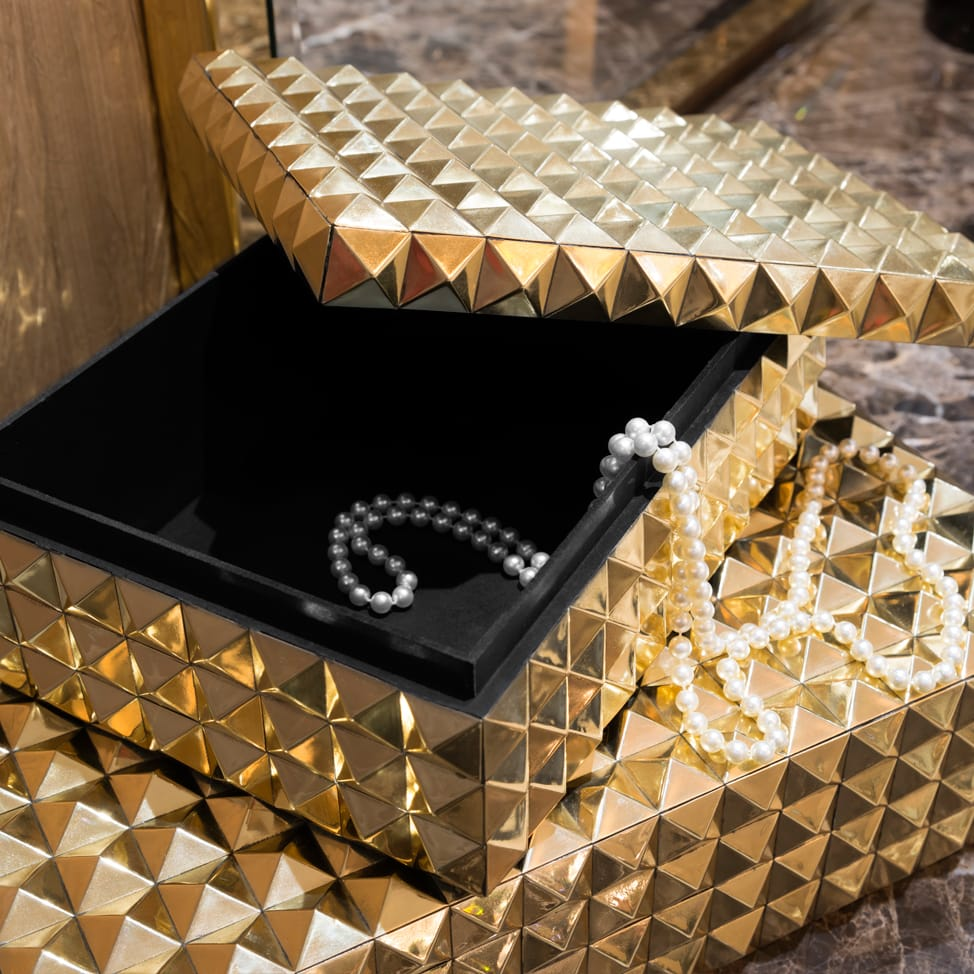 Large Modern Gold Jewellery Box