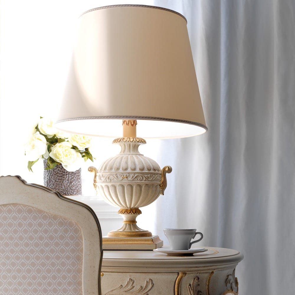 Florence Collection, carved Italian table lamp, ivory and gold