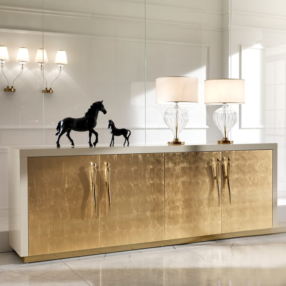 statement furniture, large sideboard, ivory gloss lacquer outer, gold leaf doors with gold handles