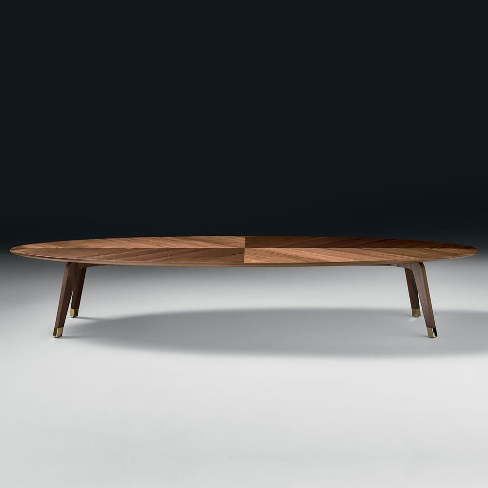 Large Italian Designer Walnut Oval Coffee Table