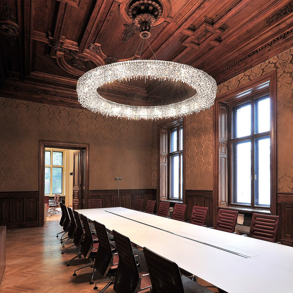 large crystal corona chandelier