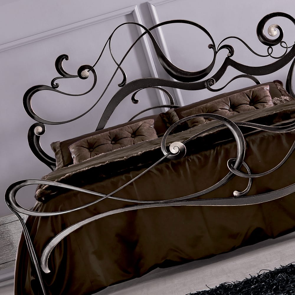 luxurious designer ornate swirl bed iron finish