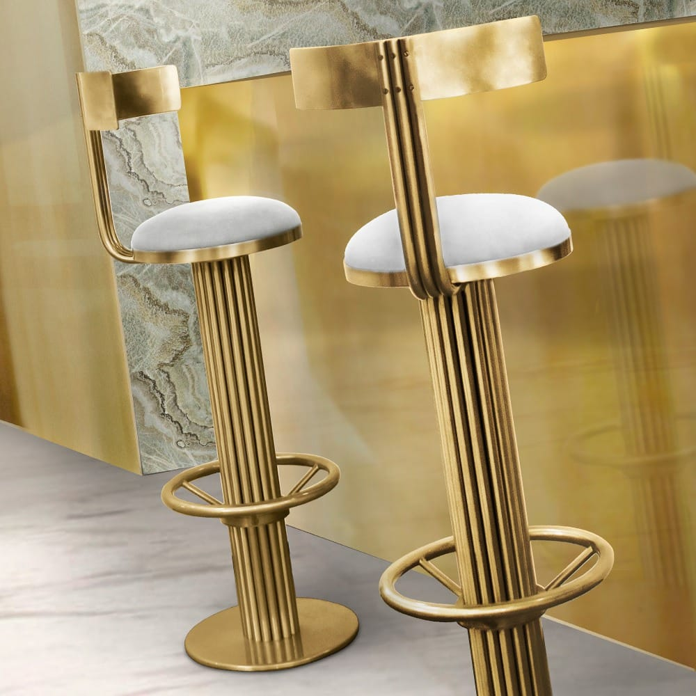 Luxury Mid Century Gold Modern Bar Stool