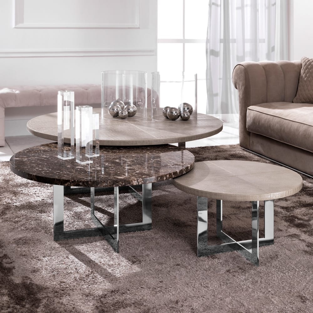 Statement furniture, set of 3 coffee tables, one with marble top, two with embossed leather top