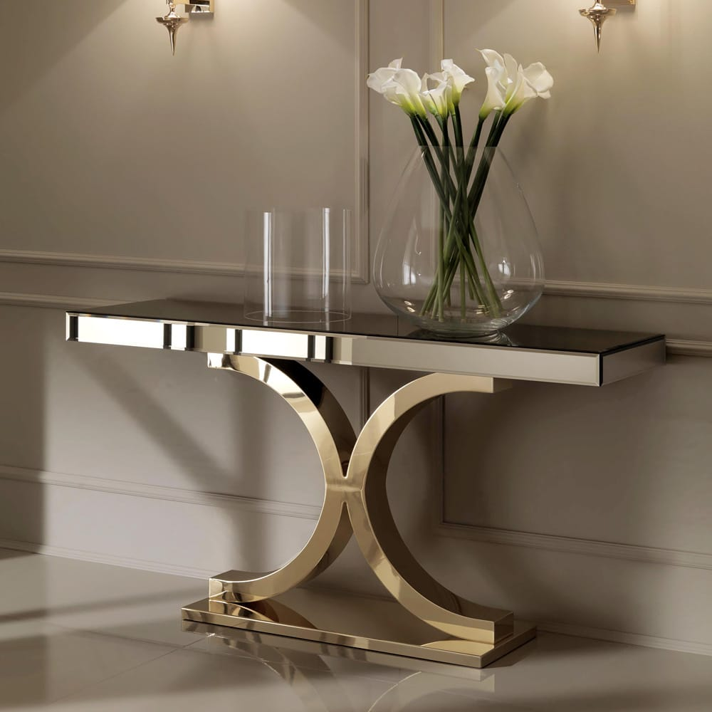 mirrored finish 24 carat gold plated console table