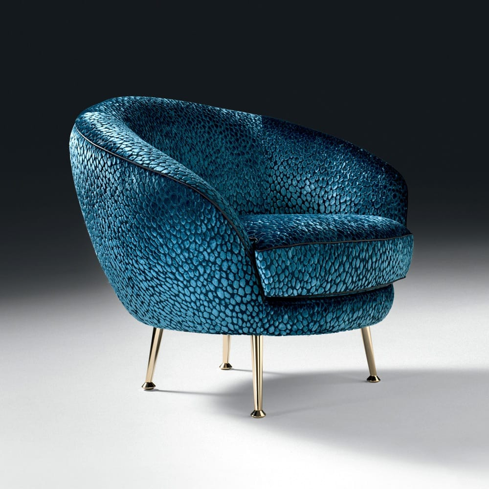 Impress the guests, occasional chair, padded, rounded back, stone upholstery