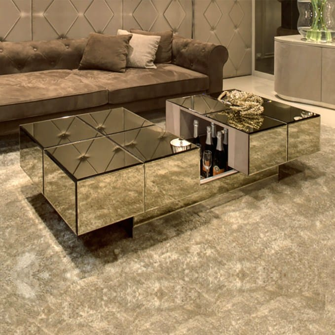 hidden bar coffee table mirrored finish