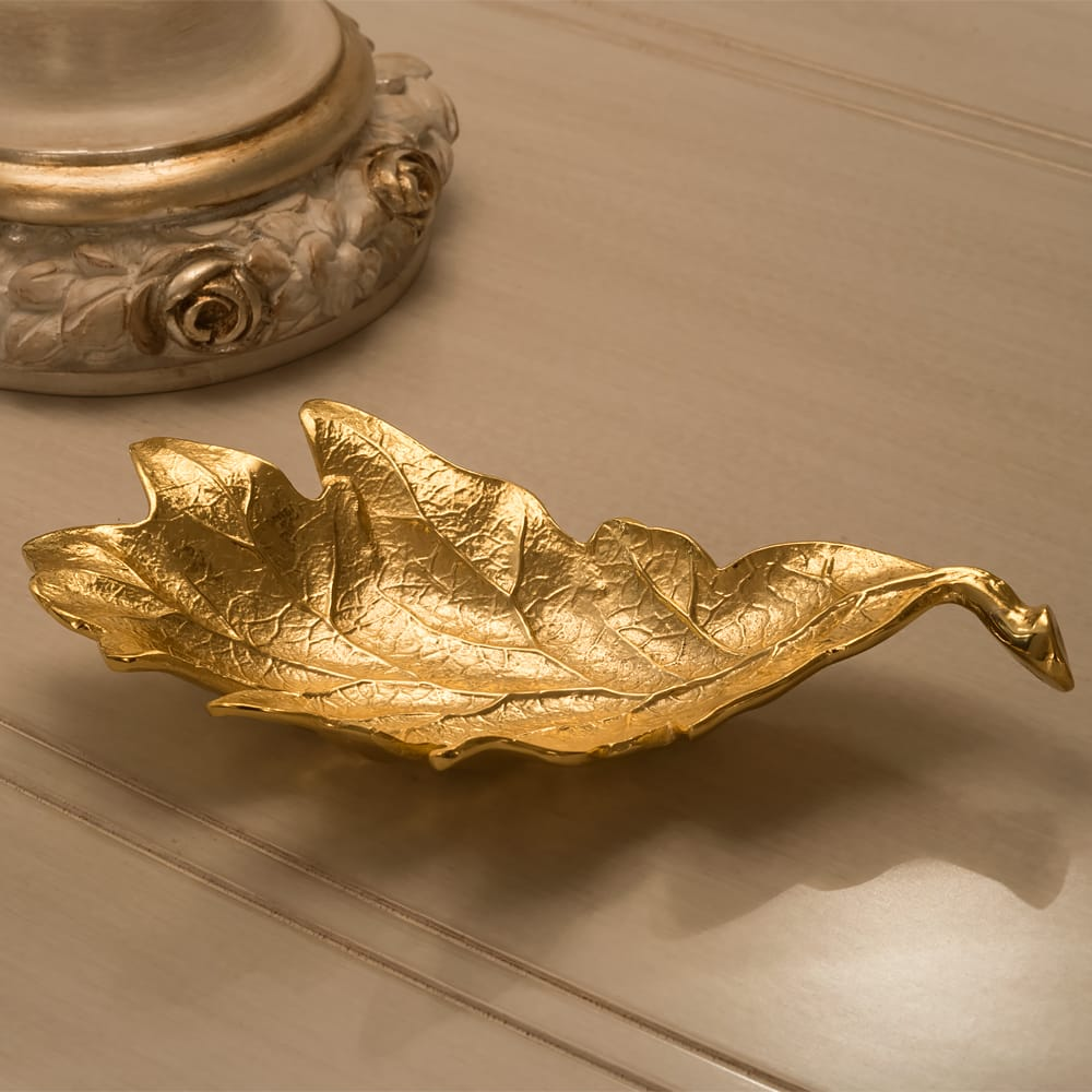 Unique Gold Enamel Red Oak Leaf Design Nut Dish