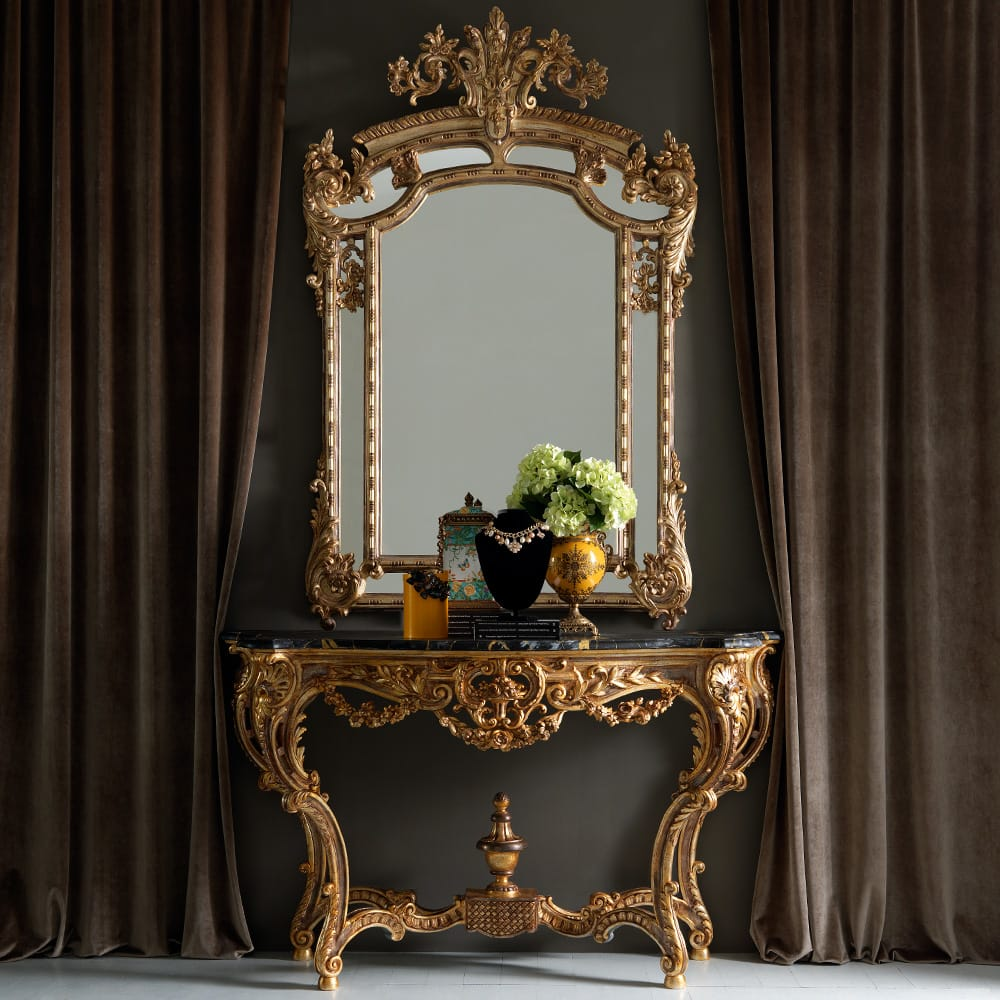 highly ornate gold rococo console table