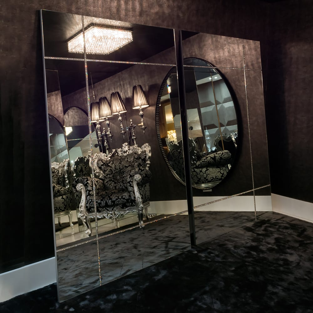 Impress the guests, large, floor-standing panelled mirror with inset Swarovski crystals