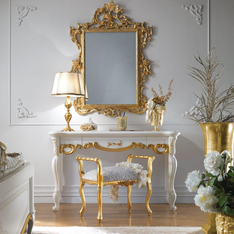 High End Italian Dressing Table And Mirror Set
