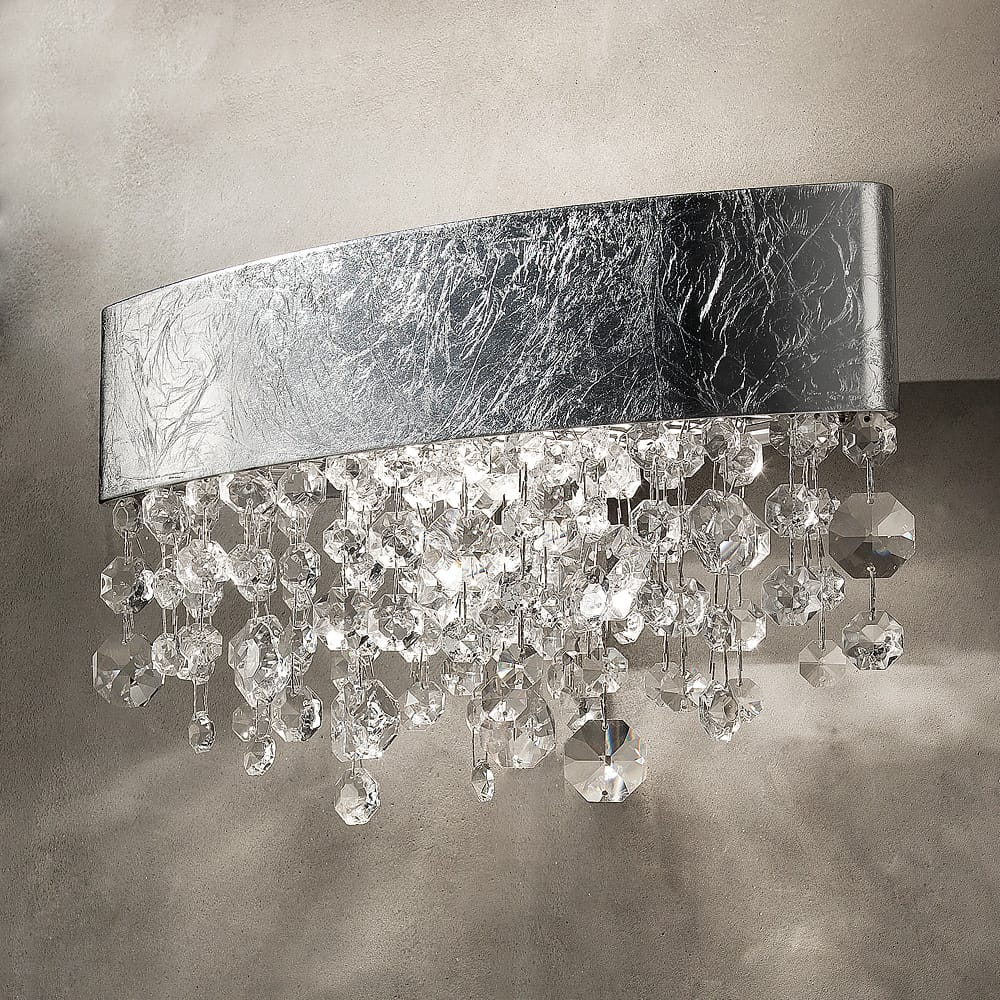 chandelier style wall light with silver leaf finish