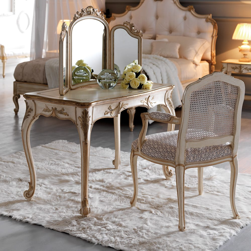 Florence Collection, ornate dressing table with mirror and chair