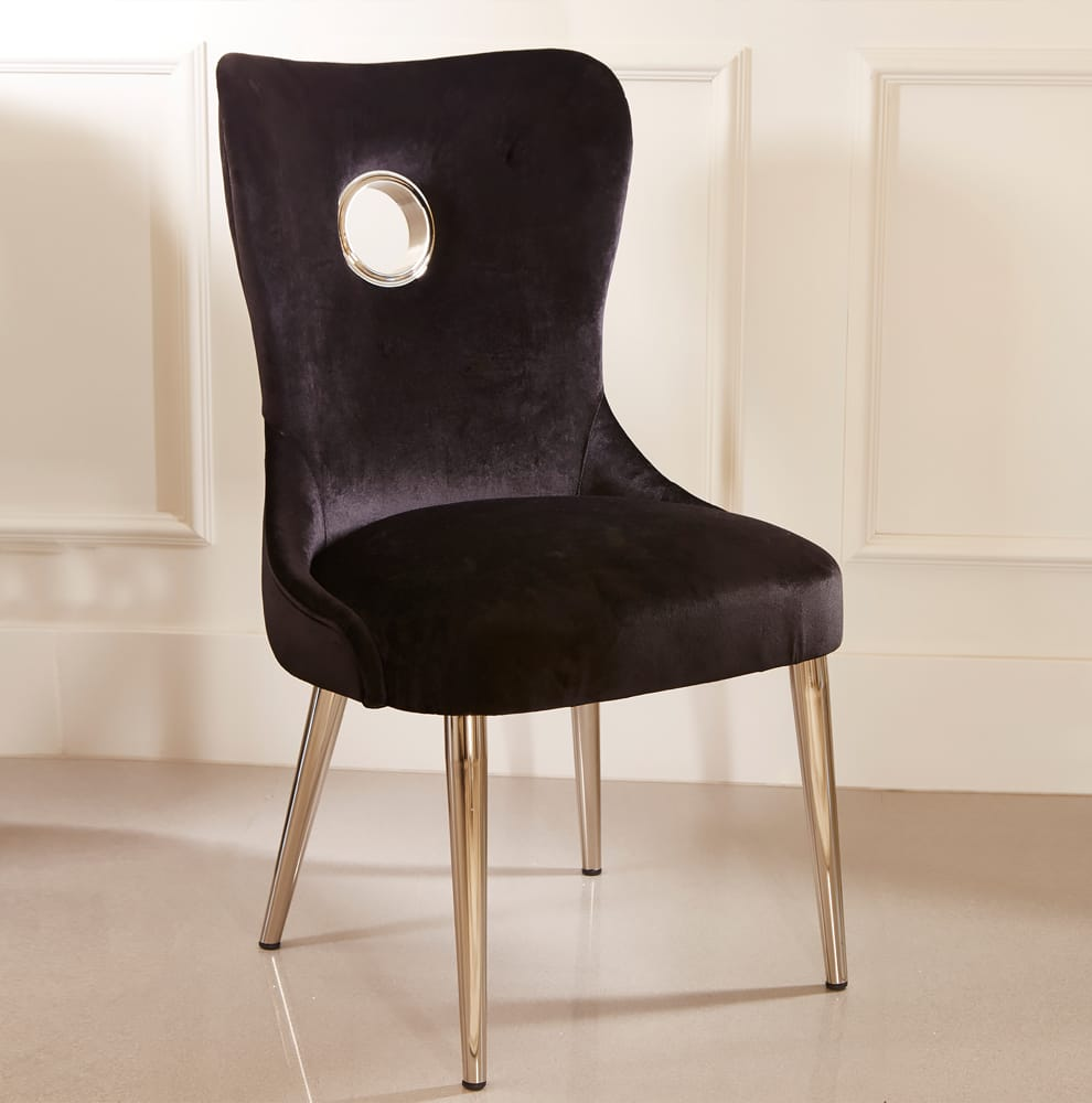 ex display black velvet art deco style dining chair with cutout circle