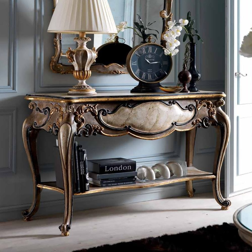 Impress the guests, classic, ornate, carved console table, wooden with antique gold finish