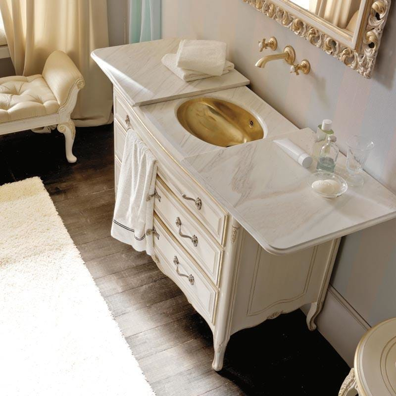 statement furniture, Italian bathroom vanity unit, 3 drawers, concealed gold basin with sliding marble top