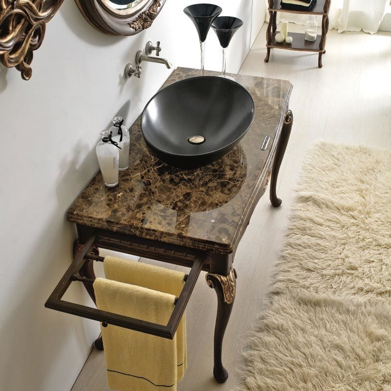 statement furniture, marble top vanity table with matt black basin, gold taps