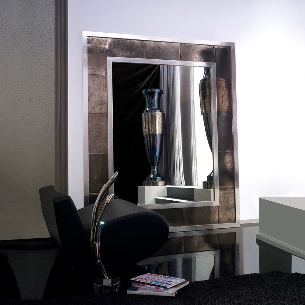 statement furniture, large modern floor mirror, platinum and silver leaf surround